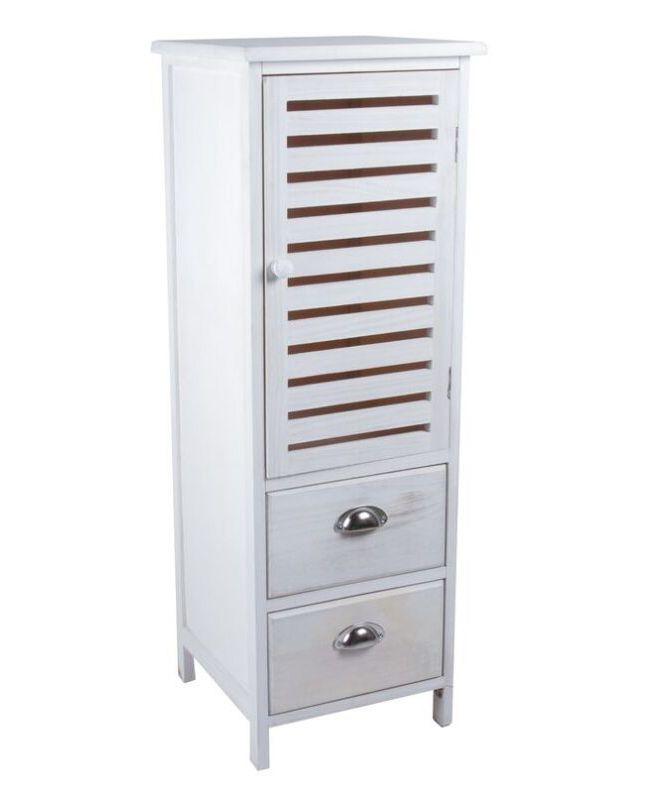 Mueble auxiliar. Armario con dos cajones de madera en color blanco ...