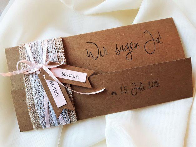 Einladung Zur Hochzeit Vintage Kraftpapier Jenny K