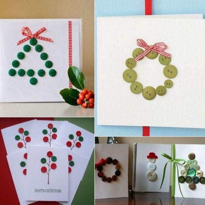 Postales de navidad con botones Christmas Pinterest Postales