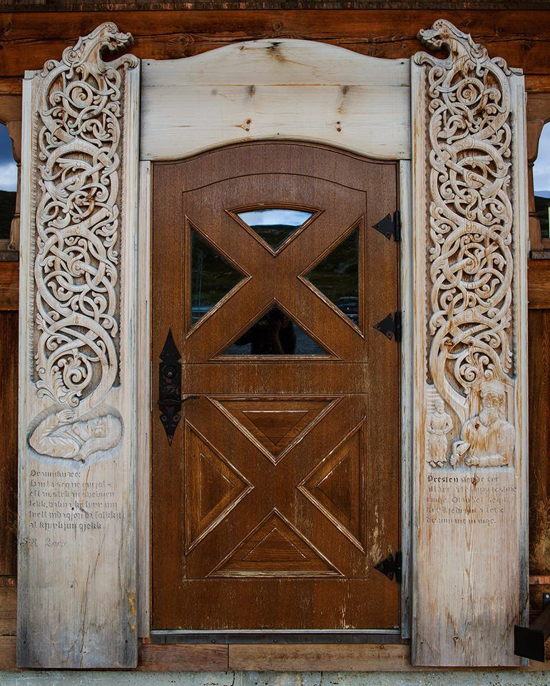 Norwegian viking knotwork door. Photo by Siv Greentea