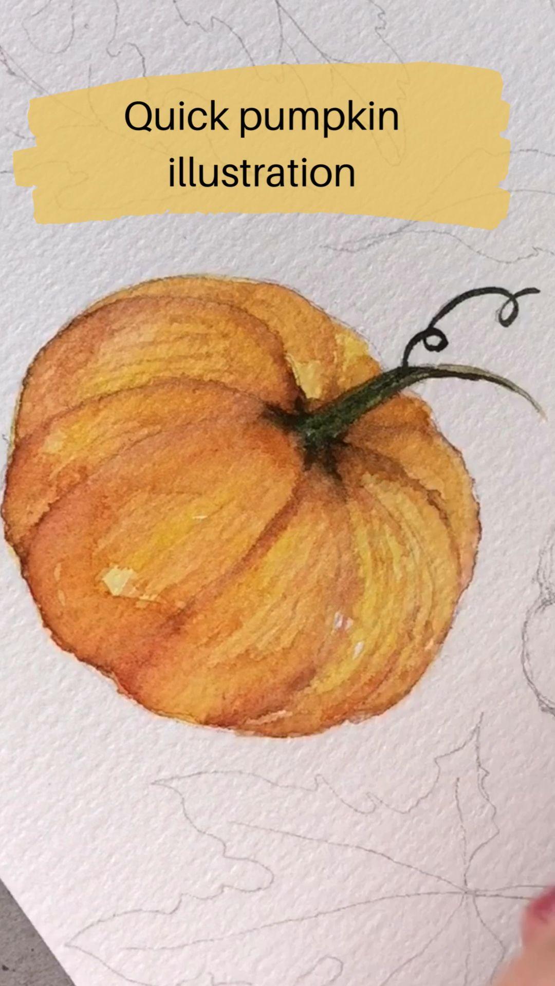 Watercolor Pumpkin Illustration  #watercolorart