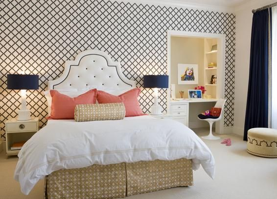 White Tufted Headboard With Nailhead Trim White Lamps With Silk Navy Blue Shades Navy Lattice Wallpaper Salmon Pink Pillo Bedroom Inspirations Bedroom Design
