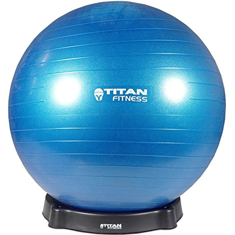Titan Fitness Blue 65cm Exercise Stability Ball w/ Base