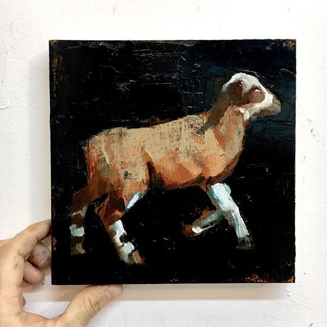 Small brown lamb painting, oil on panel, #painting #lamb
