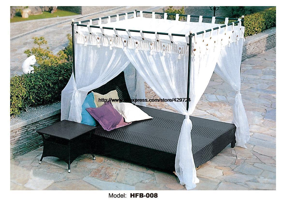 Leisure beach swing pool sofa bed pe rattan lying bed sofa with side