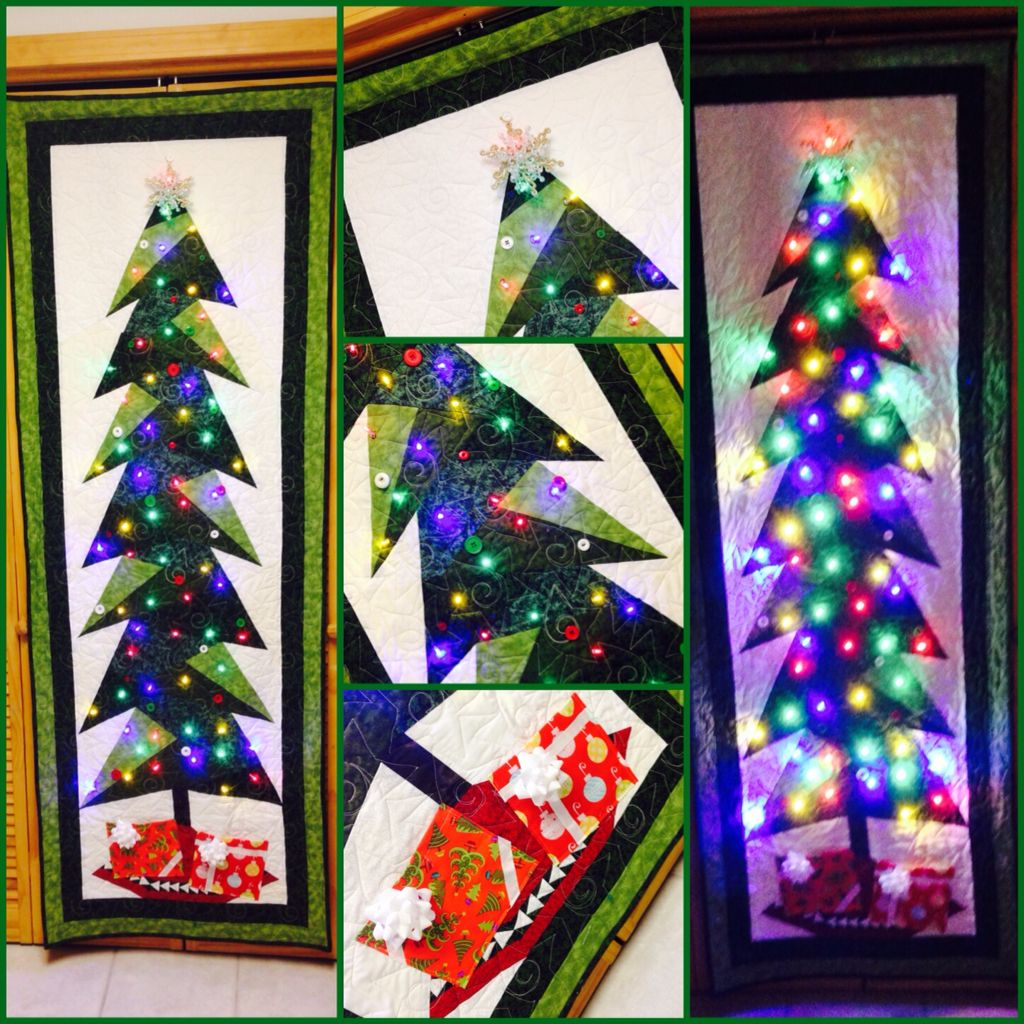 Tall Trim The Tree Quilted Wall Hanging With Led Lights