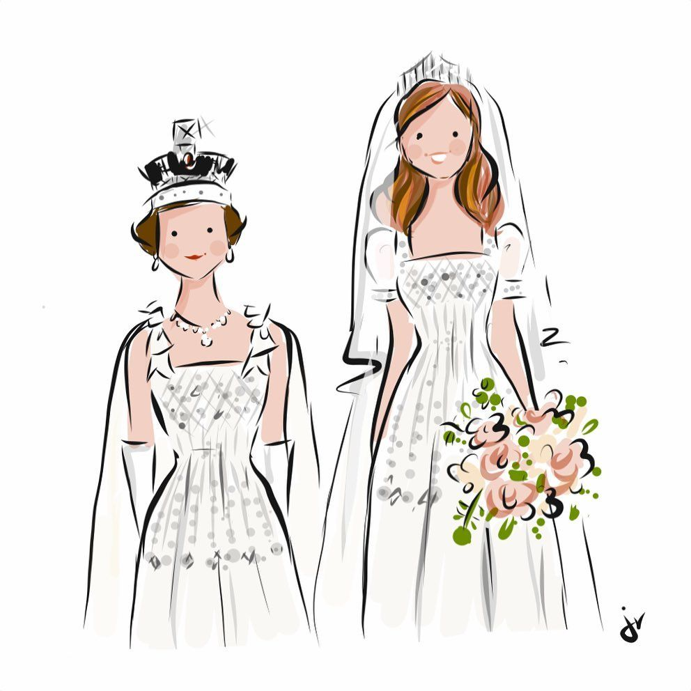 Royalsketchesbyjenv Princess Beatrice In Her Grandmother S Vintage Norman Hartnell Gown Que In 2020 Royal
