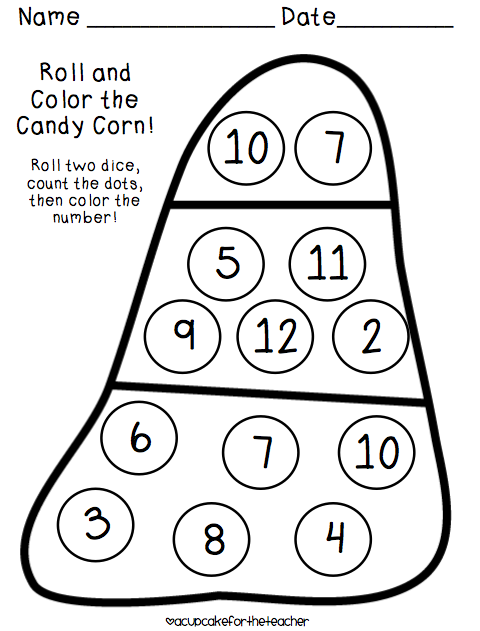 Freebielicious Candy Corn Roll And Color Halloween Preschool Preschool Math Halloween Math