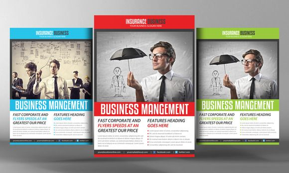 Insurance Business Flyer Template by Business Templates on - business pamphlet templates free