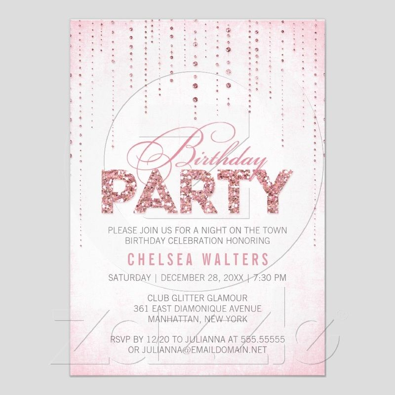 Sparkly Pink Glitter Birthday Invitation Cute Birthday Themes - invitation wording ideas for dinner party