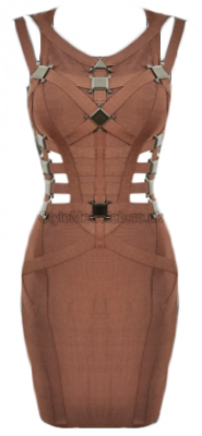 Brown Metal Embellished Cut Out Bodycon Dress