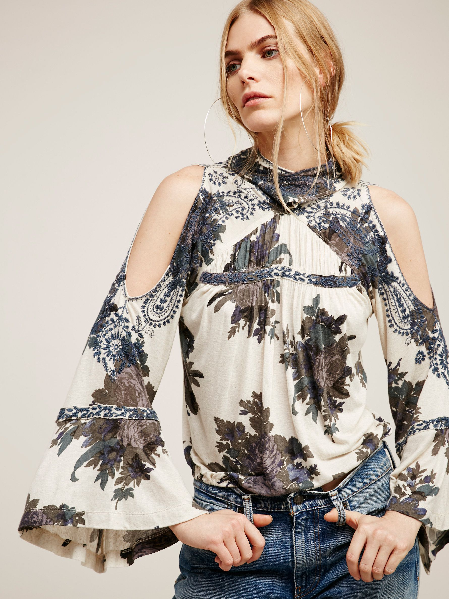Bainbridge top soft floral printed top with beautiful embroidered