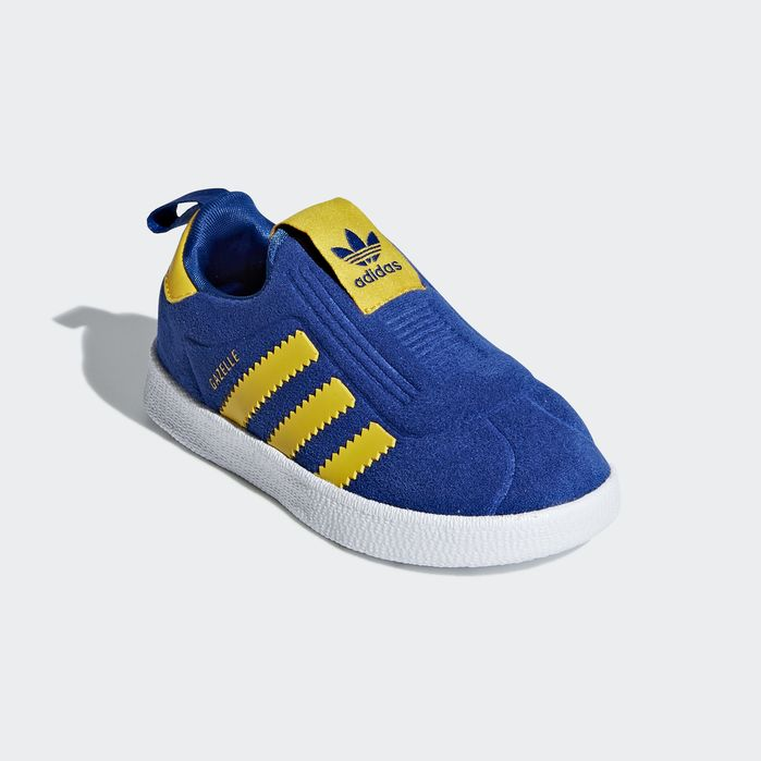 Adidas Gazelle trainers in blue and yellow for kids in 2019