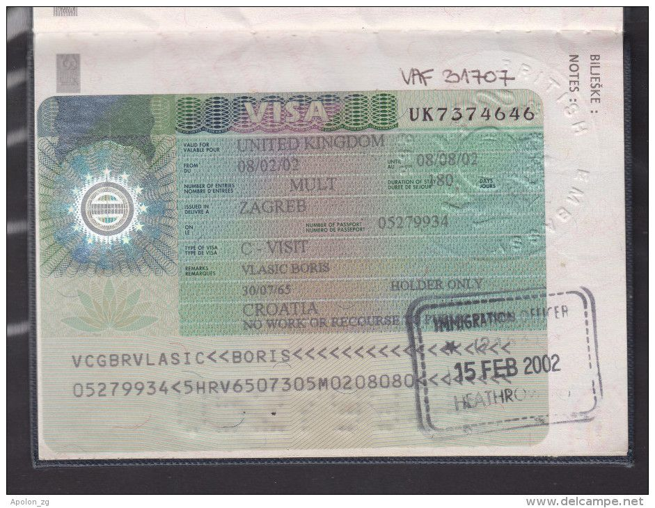 Expired Croatia Passport With Two Visas Of Usa Three Schengen Visas And Visa Of U K Former User Known Croatian Journali Delcampe C Military Tags Visa Croatia