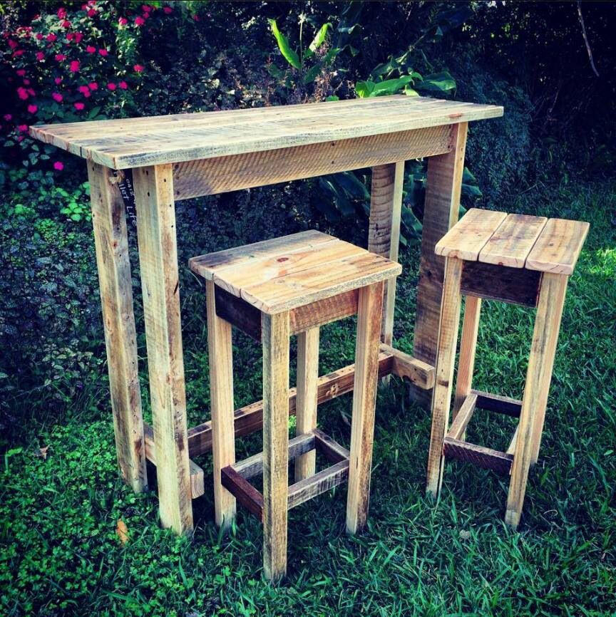 Bar table and stools we made out of old pallets for an for Tables made out of pallets