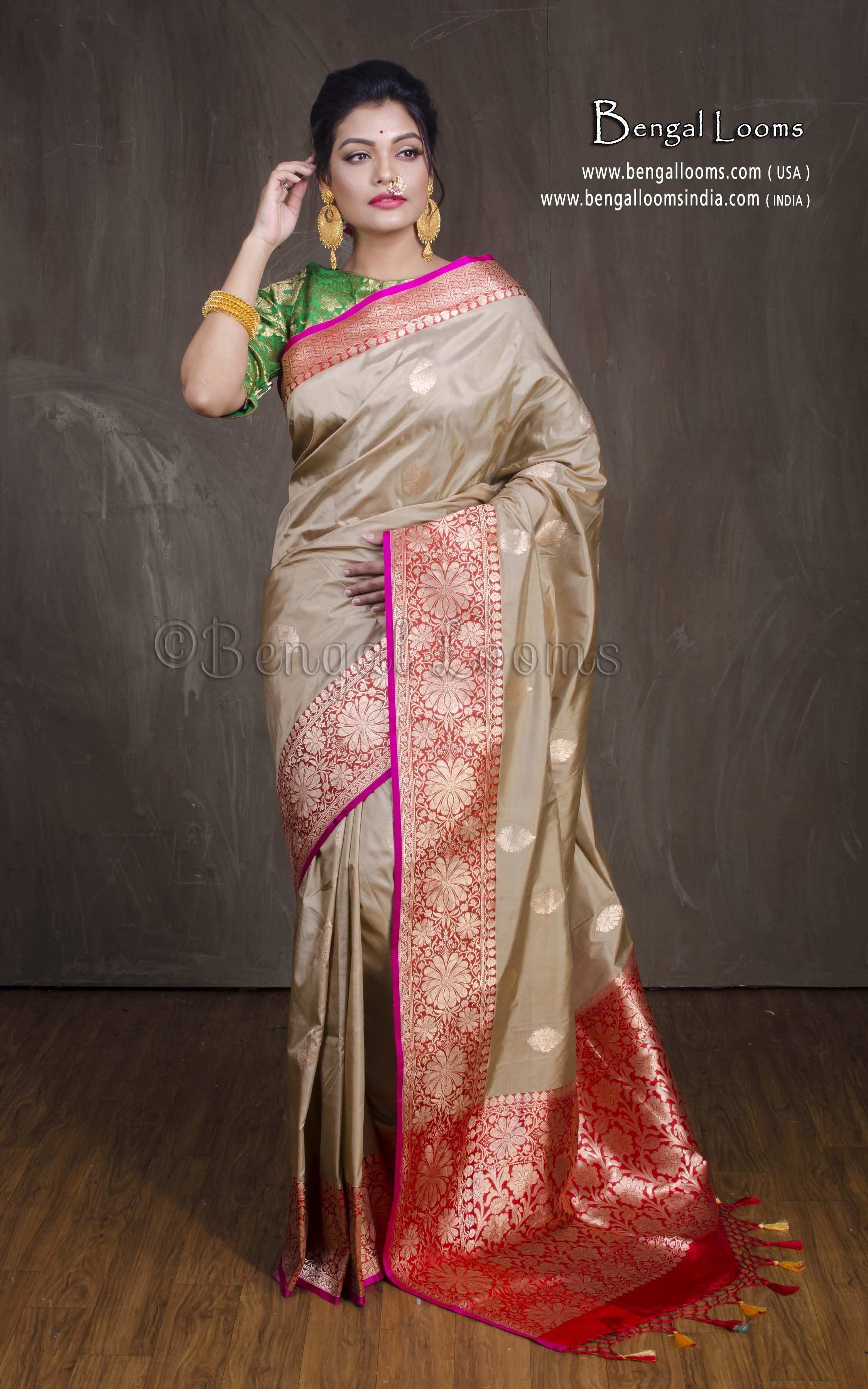 72ec6ced6e46b5 Pure Katan Silk Banarasi Saree in Clayish Cream and Red. Website -  www.bengallooms.com