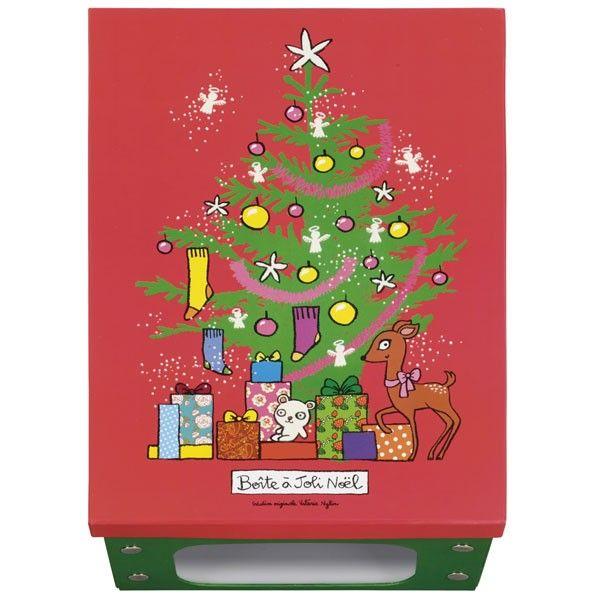 boîte de rangement joli noël - rouge/vert - derrière la porte