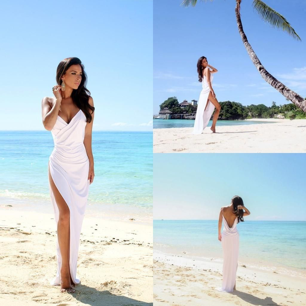 simple sexy open back beach wedding dresses side slit spaghetti straps summer bridal party gown 2016 champagnewhite sheath wedding gown