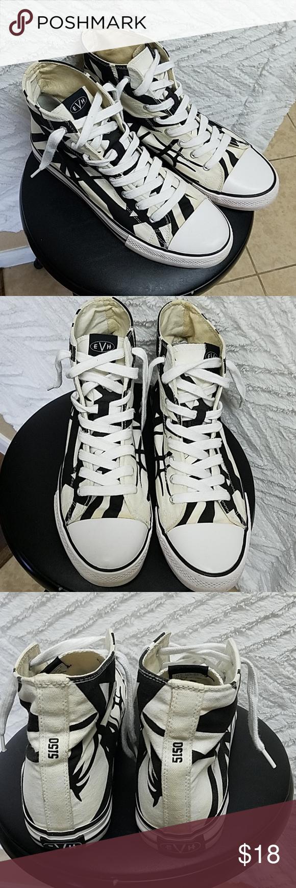 Evh Eddie Van Halen White Black Hi Top Men S Black Sneakers Van Halen Vans High Top Sneaker