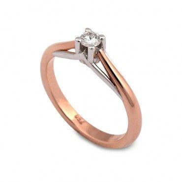 Μονόπετρο δαχτυλίδι με μικρό διαμάντι μπριγιάν καράτια από λευκό και ροζ  χρυσό Κ18  eefd1590df3
