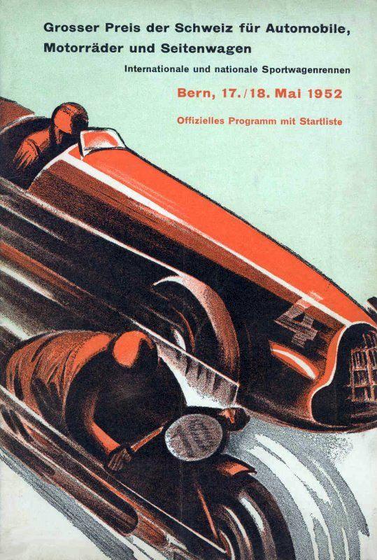 1952 Swiss Grand Prix Program Bern Grosser Preis Der Schweiz