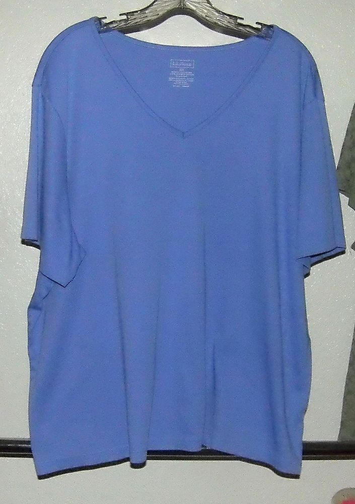 L L BEAN Periwinkle Blue Short Sleeve V-Neck Cotton Knit Top Sz. 3X #LLBean #KnitTop #Casual