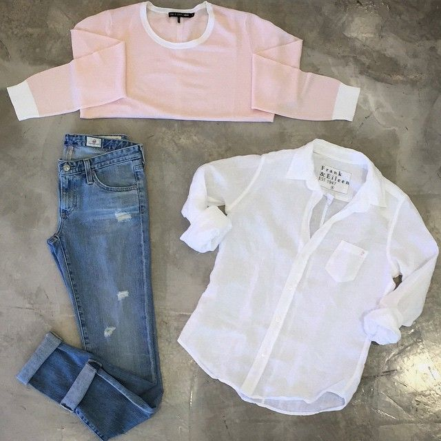 Pink, White & Denim #springstyle #newarrivals Split Back Sweater #ragandbone // Jeans #agjeans // Linen Shirt #frankandeileen
