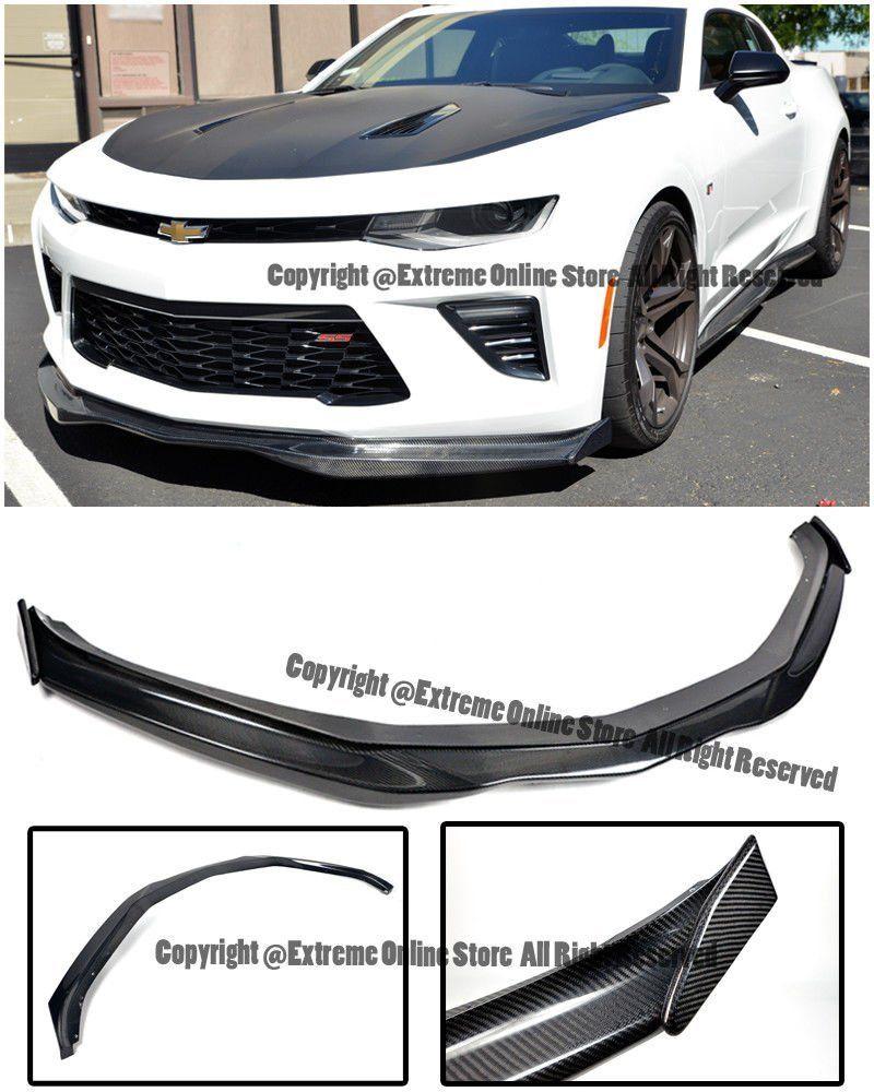 ABS Plastic - Primer Black Extreme Online Store for 2016-2018 Chevrolet Camaro LS LT RS Models EOS T6 Style Front Bumper Lower Lip Splitter with Carbon Fiber Side End Cap Extension Pair