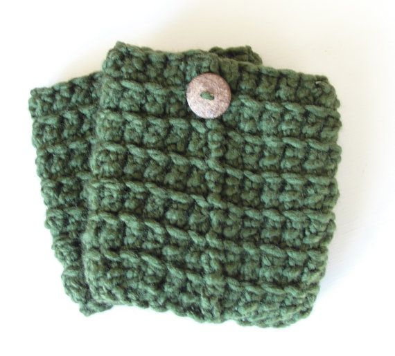 Crochet Boot Cuffs in Forest Green w/ by LilBumpkinsBoutique