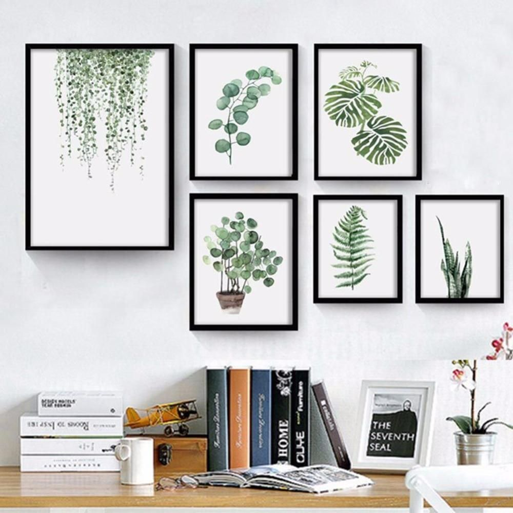 Natural Pattern Wall Art Canvas Painting Green Plants Print Wall Pictures Unframed Wall Painting Decor Wall Art Canvas Painting Wall Painting
