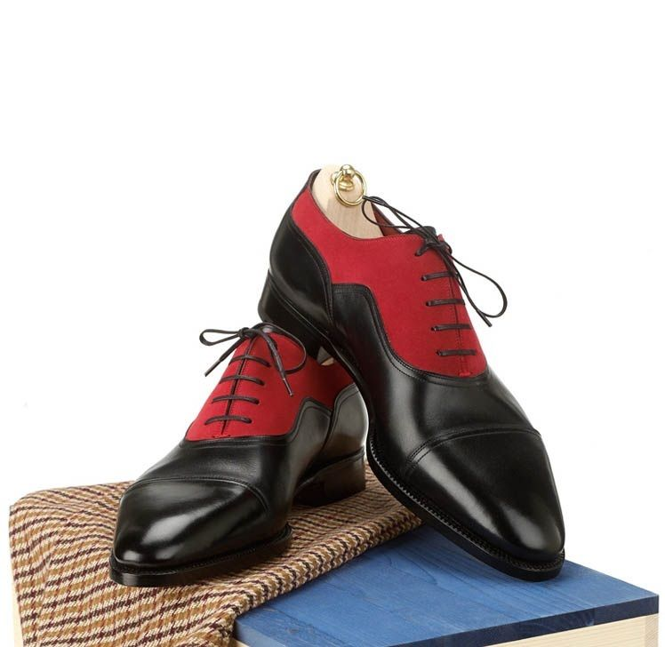 b7ec383c6df82 Handmade men two tone red and black formal shoes