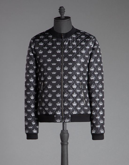 Crown Print Quilted Nylon Bomber Jacket Dolcegabbana My Style