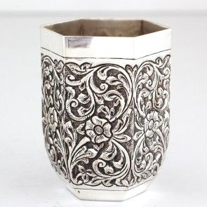 Hexagonal Engraved Silver Glass