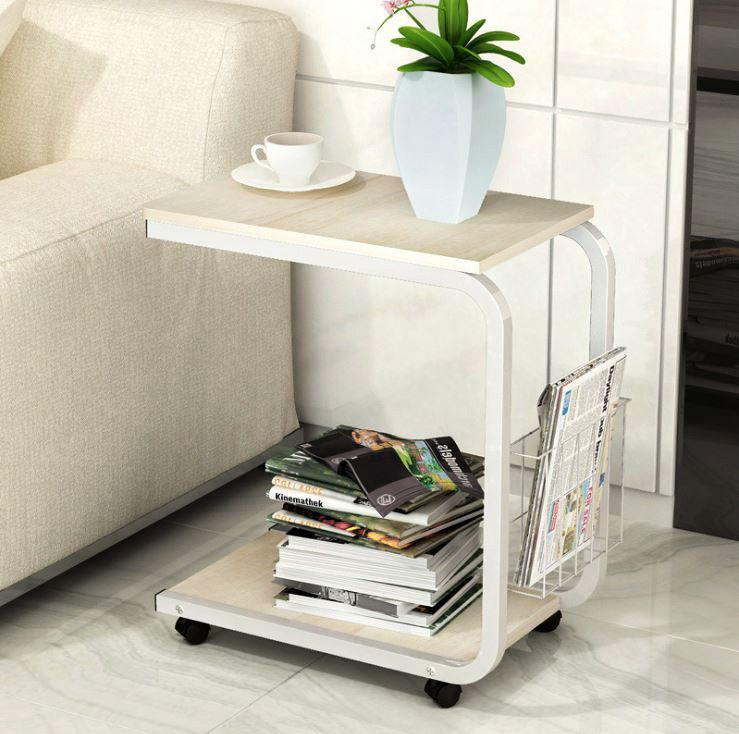 Sofa Bed Side Table Laptop Desk with Magazine Rack and Wheels (White ...