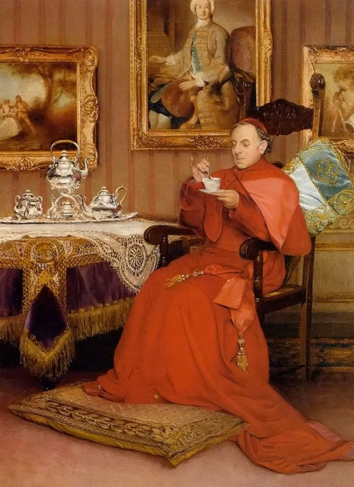 """Tea Time"" by Georges Croegaert (1848-1923)*"