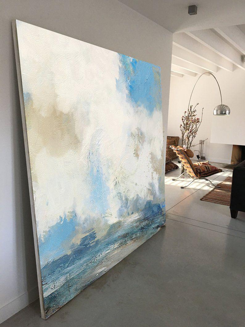 Large Cloud Canvas Paintingseascape For Living Room Etsy Cloud