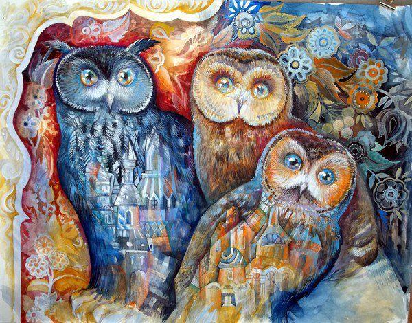 three owls by Oxana Zaika
