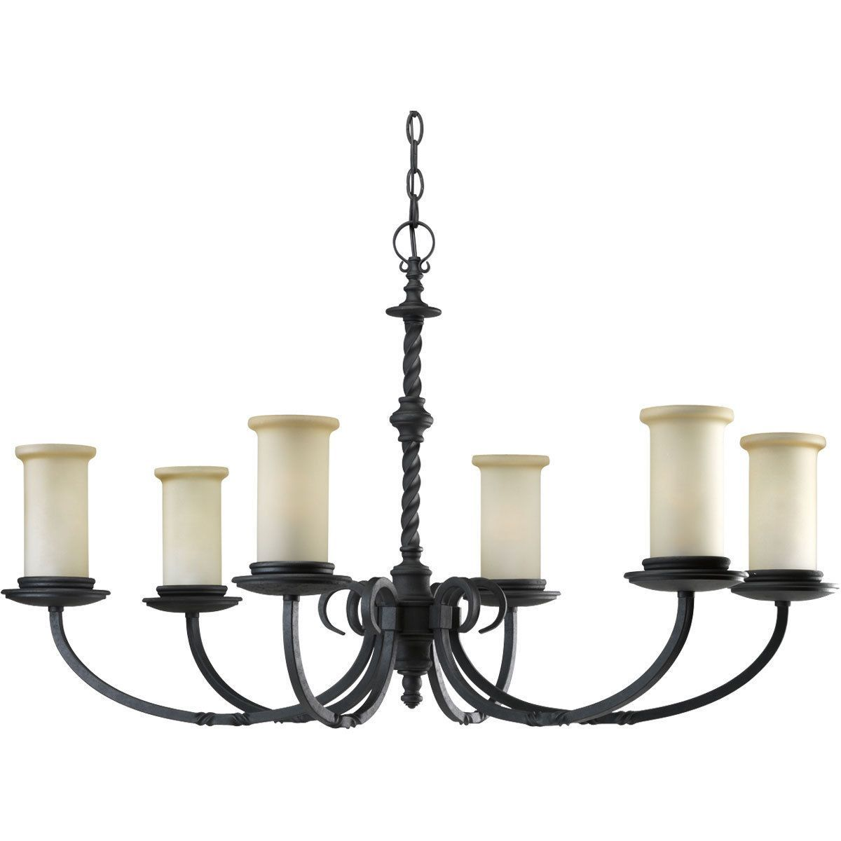 Progress lighting santiago collection 6 light forged black progress lighting santiago collection 6 light forged black chandelier lighting fixture santiago 6 light forged black chandelier glass aloadofball Image collections