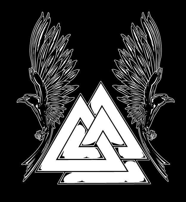 Valknut symbol from Viking and Norse Mythology followed with two ravens - tattoo sketch.