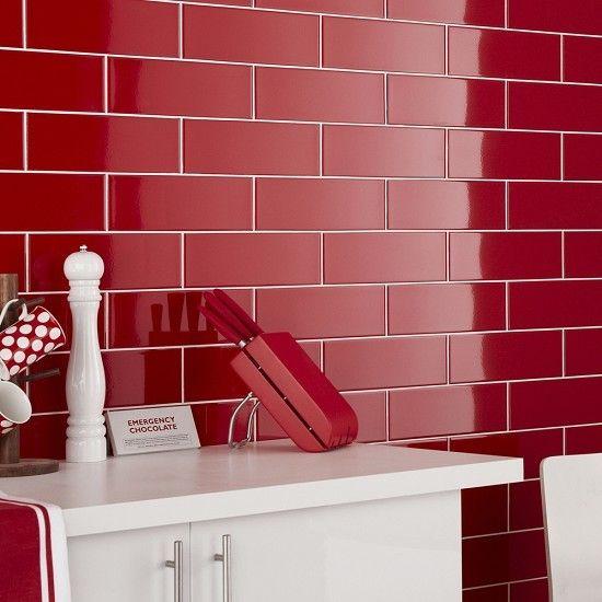 "Metro Subway Tile Red Gloss 4"" X 16"" Ceramic Wall Tile"