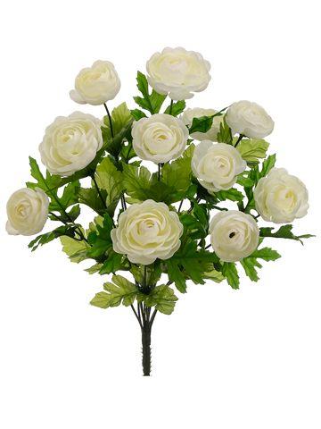 Silk Ranunculus Bush In Cream Silk Flowers Wedding Silk Flowers Wedding Flowers