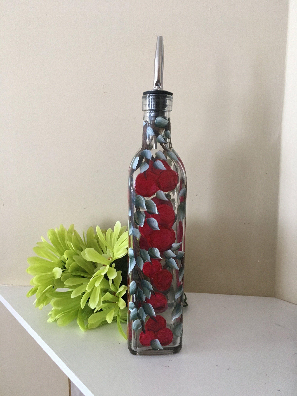 Cherry Oil Bottle, Soap Dispenser, Cherries , Autumn dish ware, Fall Decor, Hand Painted Bottle, Thanksgiving Serving Dish #dishware