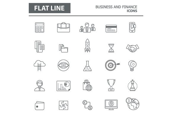 Set of modern simple line icons by L_amica on @creativemarket