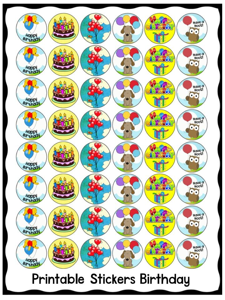 Printable Birthday Stickers For Kids Available At Clever Chameleon - Where to print stickers