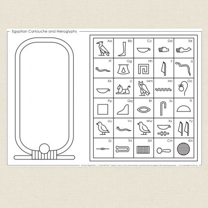 Childrens colouring in activity   Egyptian Cartouche and