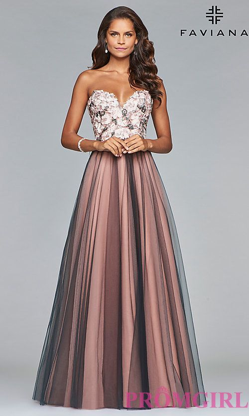 Long A Line Prom Dress With An Open Lace Up Back Prom