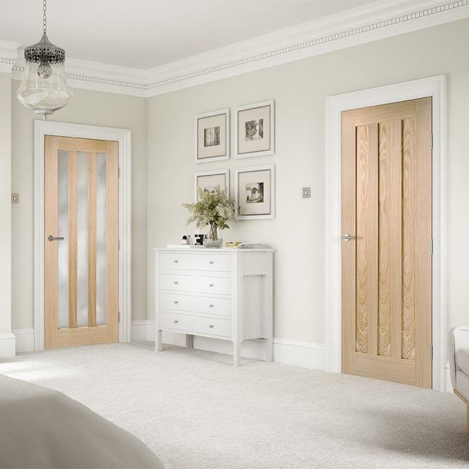Grey Panelling Under Stairs: LPD Doors Internal Oak Fully Finished Utah 3L Frosted