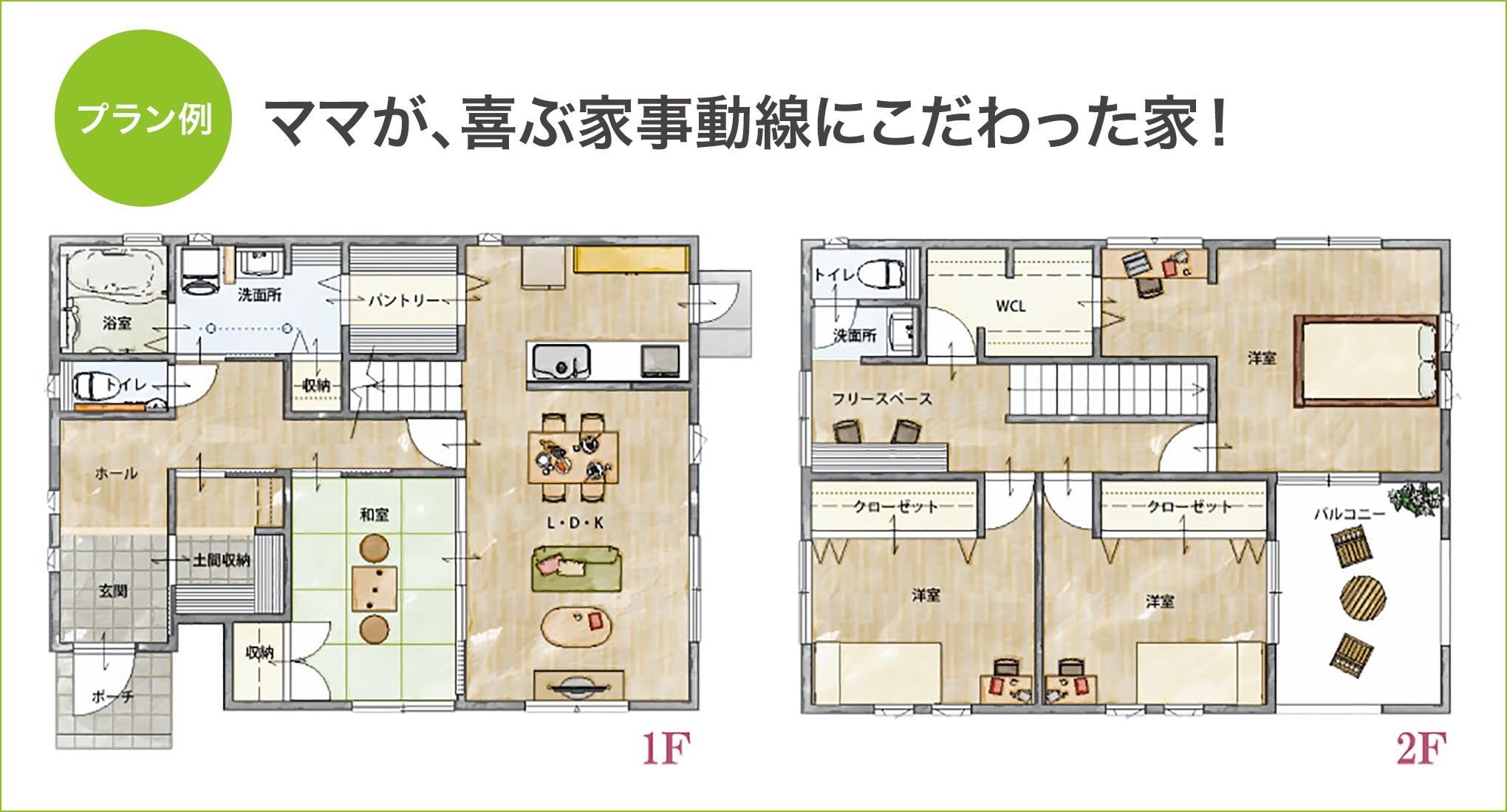 プラン例 ママが 喜ぶ家事動線にこだわった家 28坪 間取り 32坪