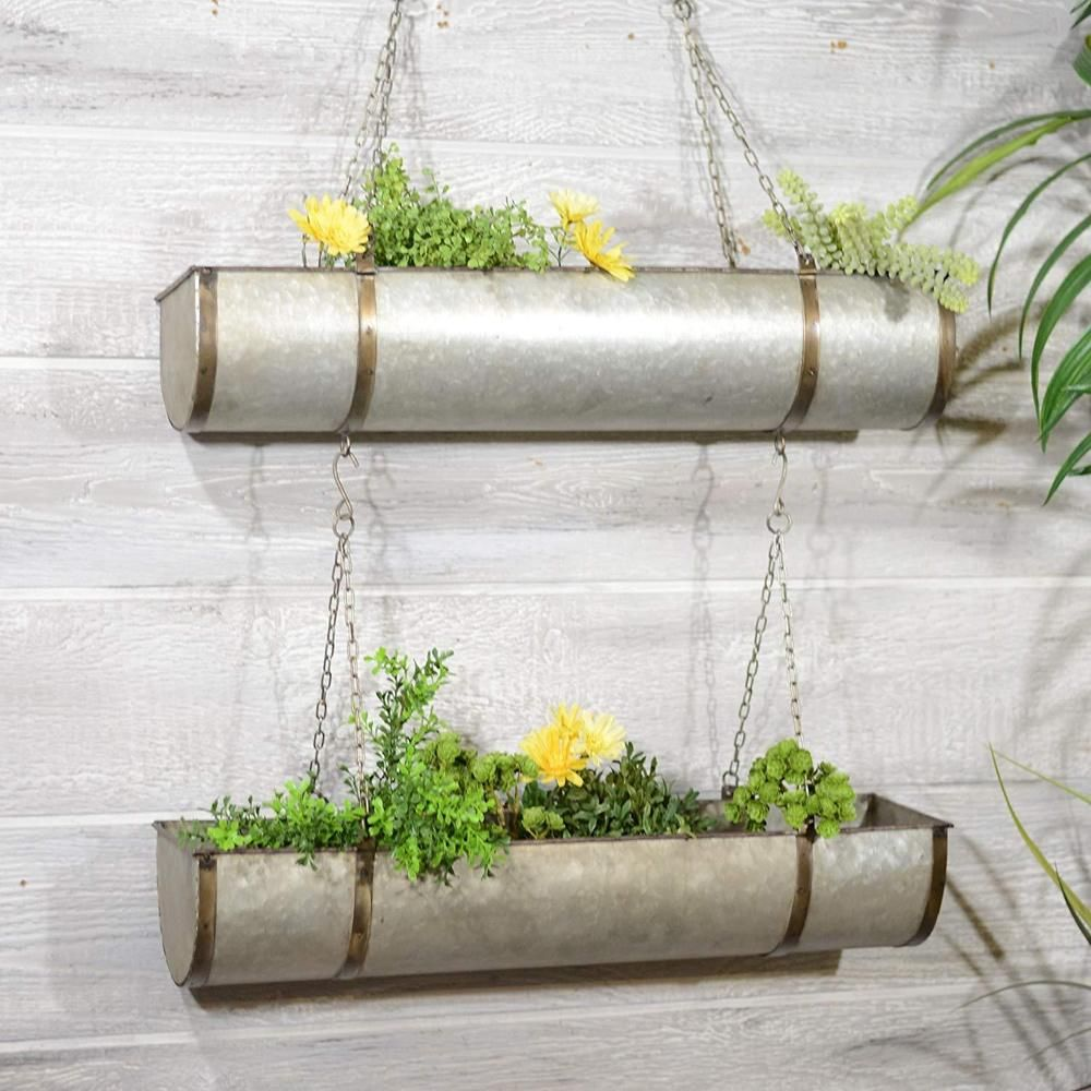 Metal Hanging Planter Two Tiered Rustic Metal Planter Set Hanging By Chain Ebay Tiered Planter Hanging Planters Metal Hanging Planters