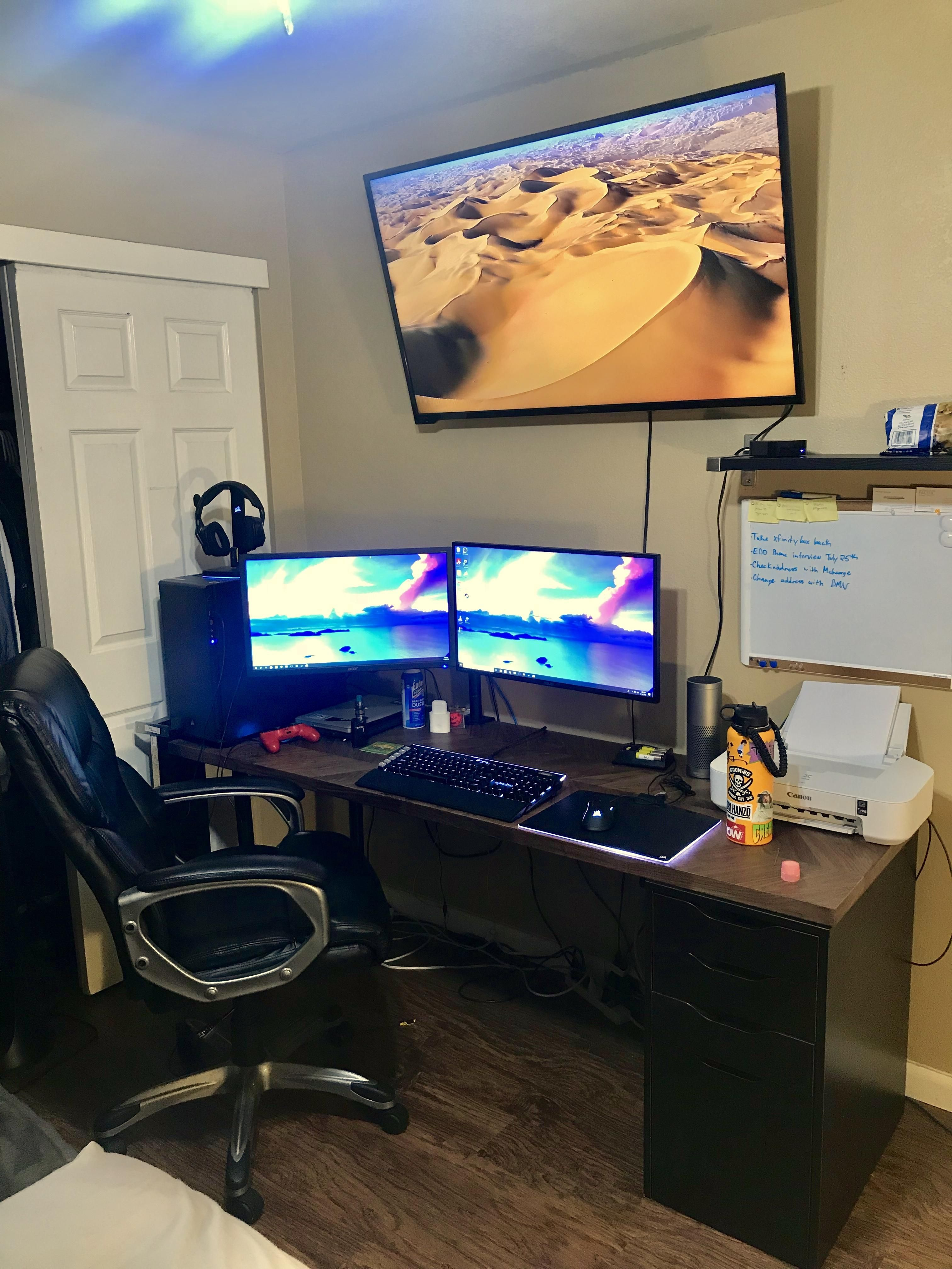 New House New Desk New Monitor New Tv Setup Is Looking Better Next Step Cable Management Gaming Desk Setup Game Room Setup